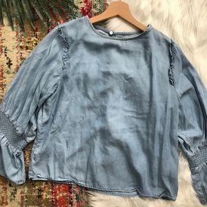 Zara • Chambray Ruffle Sleeve Top